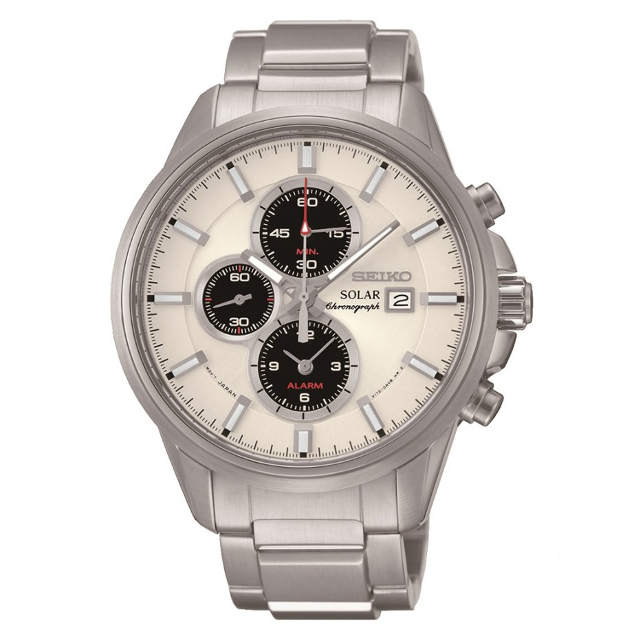 Seiko ssc251p1 gents silver chronograph watch seiko solar chronograph watch tic watches for Solar watches
