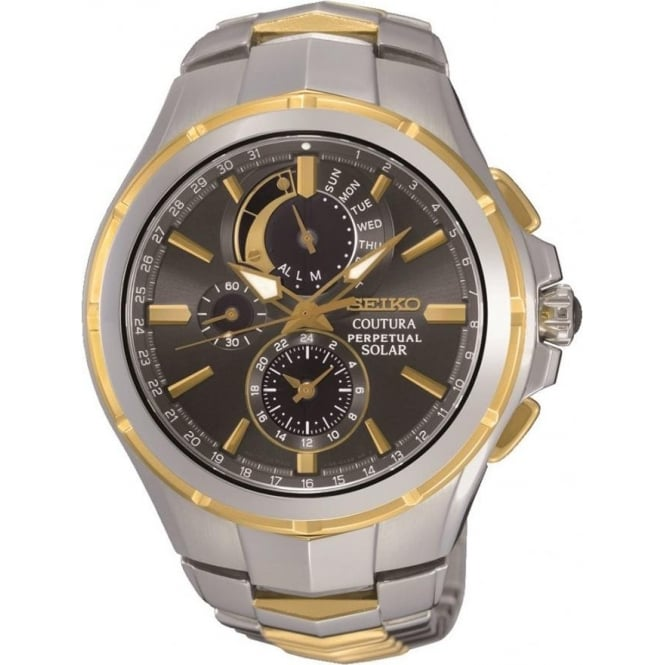 men s seiko gold and stainless steel seiko watches seiko coutura seiko ssc376 coutura solar gold stainless steel gent s watch