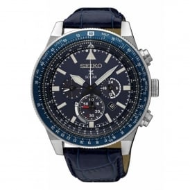 SSC609P1 Prospex Silver & Blue Textured Calf Leather Solar Men's Watch