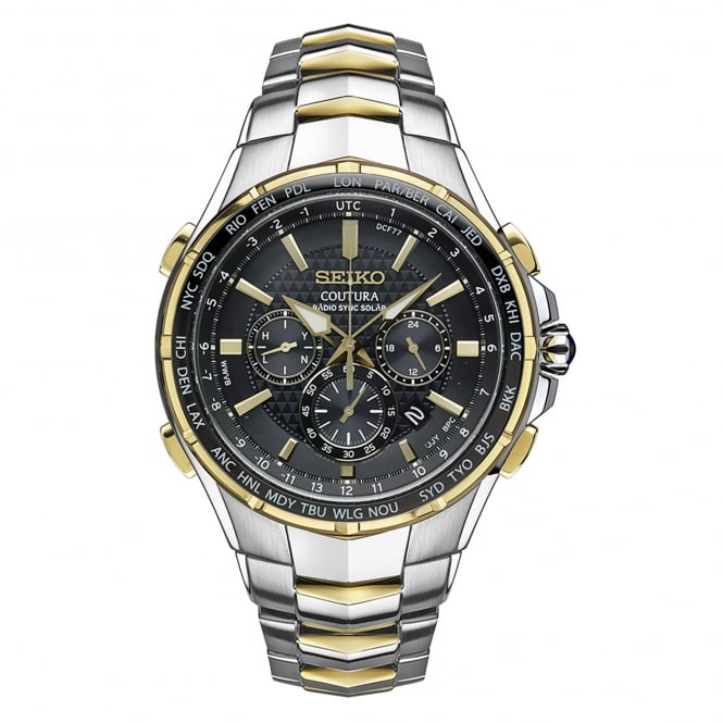 Seiko SSG010 Two Tone Coutura Radio Sync Solar Men's Watch