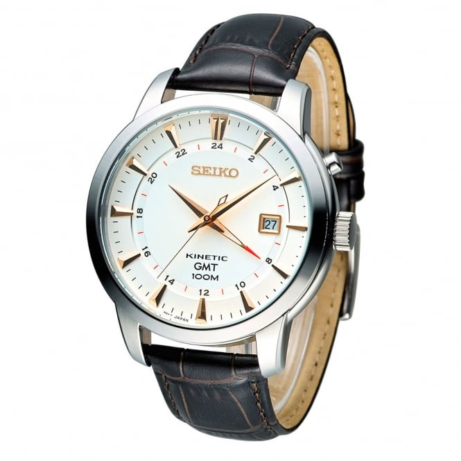 Seiko SUN035P1 Textured Calf Leather Kinetic Men's Watch