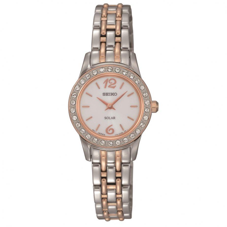 Seiko Sup130 Silver And Rose Gold Solar Watch Seiko