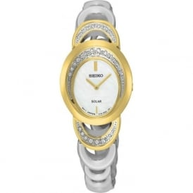 Seiko SUP296P1 Gold & Silver Stainless Steel Solar Ladies Watch