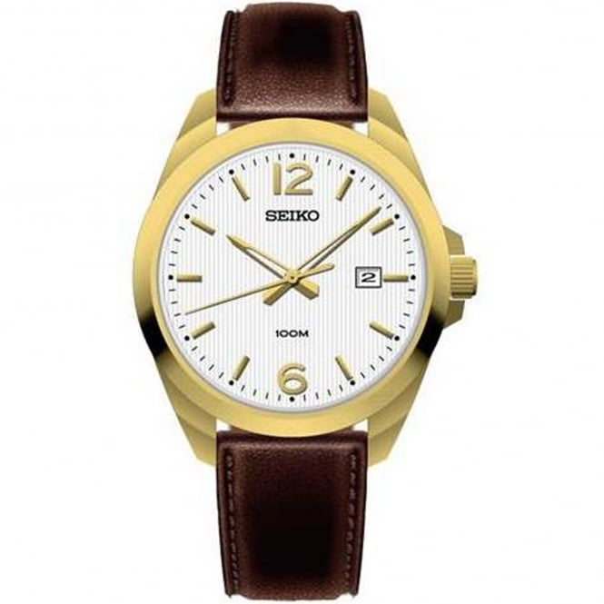 Seiko SUR216P1 Gold & Brown Leather Men's Watch