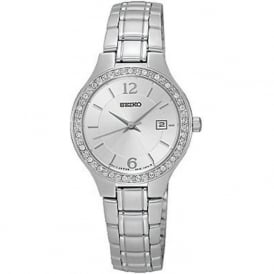 Seiko SUR789P1 Silver Stone Set Stainless Steel Ladies Watch