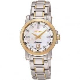 Seiko SXDG02P1 Premier Silver & Gold Ladies Diamond Watch