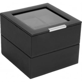 Set of 2 Black 6 Piece Watch Trays