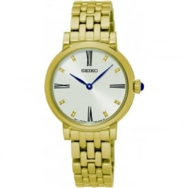 Seiko SFQ814P1 White & Gold Stainless Steel Women's Watch