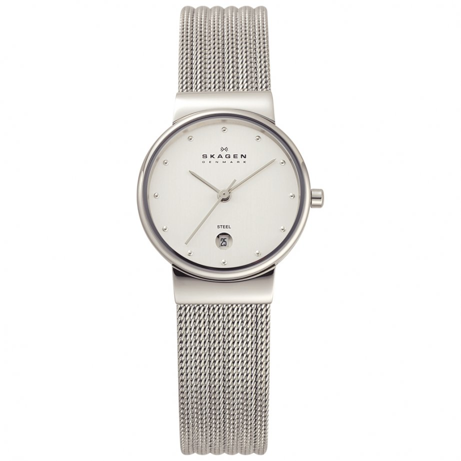 skagen watches 355sss1 silver mesh womens watch buy