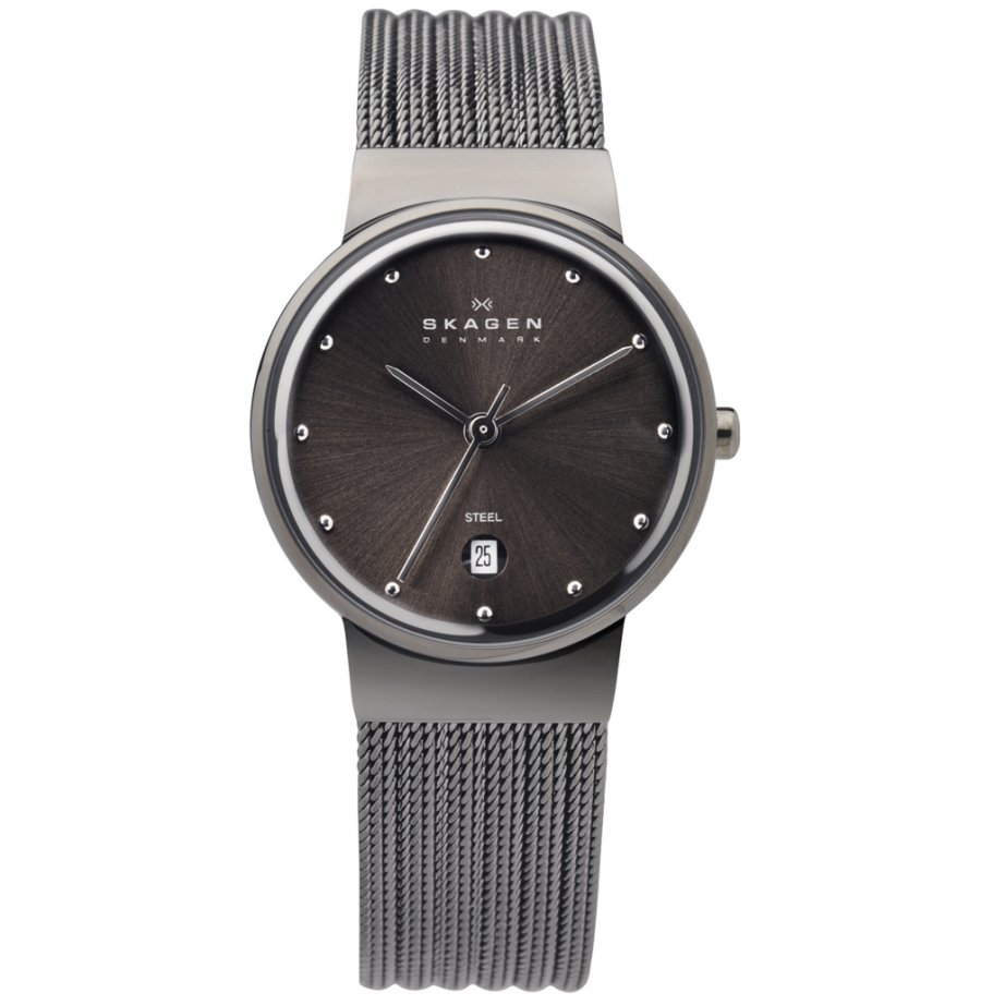 skagen watches 355smm1 grey mesh womens buy skagen
