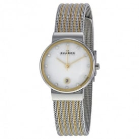 Skagen 355SSGS Ancher Two-Tone Silver & Gold Mesh Ladies Watch