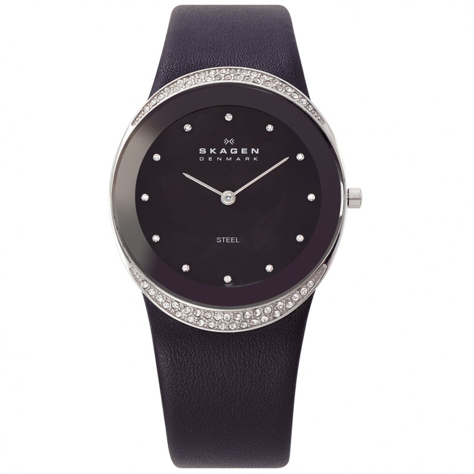 skagen watches 452lslb black leather womens buy