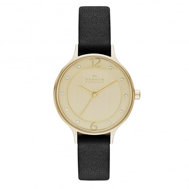 Skagen SKW2266 Anita Gold & Black Leather Ladies Watch