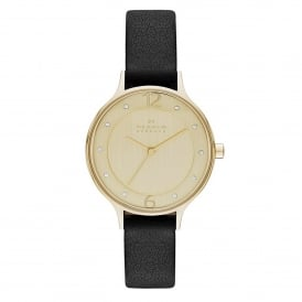 SKW2266 Anita Gold & Black Leather Ladies Watch