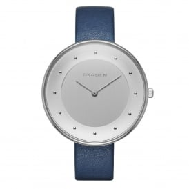 Skagen SKW2135 Gitte Silver & Blue Leather Ladies Watch