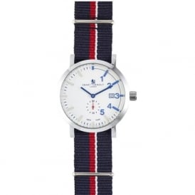 Smart Turnout STC1/56/W-RN Men's Silver & White Royal Navy Nato Strap Watch