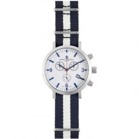 Smart Turnout STC1/56/W-YALE Mne's Silver & White dial Yale Nato Strapped Chronograph Watch