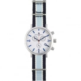 Smart Turnout STC2/56/W-BC Men's Silver & White Dial Boxing Club Nato Strapped Chronograph Watch