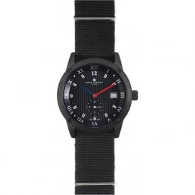 Smart Turnout STE2/56/W-BL -Gro Men's Black Grosgrain Nato Strap Watch