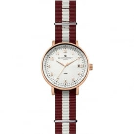 Smart Turnout STH3/WH/56/W-HARV Men's Rose Gold & White Havard University Nato Strap Watch