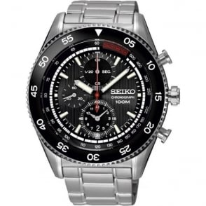Seiko SNDG57P1 Black & Stainless Steel Chronograph Men's Watch