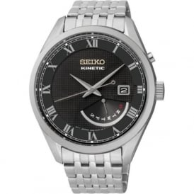 Seiko SRN057P1 Black & Silver Stainless Steel Kinetic Mens Watch