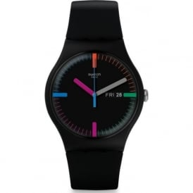 Swatch SUOB719 The Indexter Multi Colour & Black Silicone Watch
