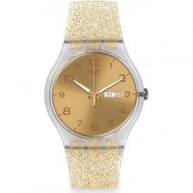 Swatch SUOK704 Golden Sparkle Plastic Silicon Watch