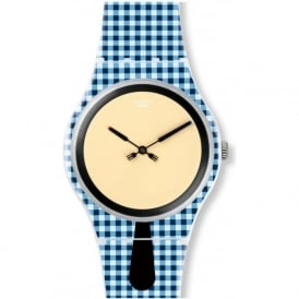Swatch SUOW118 Moitié-Moitié Blue and White Watch