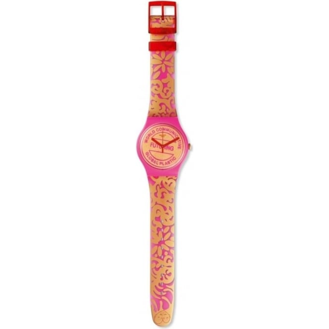 Swatch SUOZ200 Futuring by EVA & ADELE Pink & Gold Watch