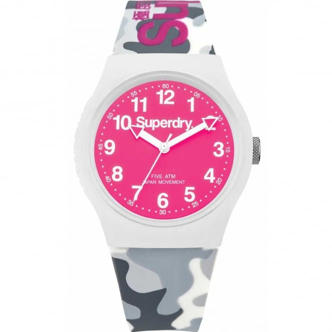 Superdry SYG164EP Urban Pink & White Grey Camouflage Silicone Ladies Watch