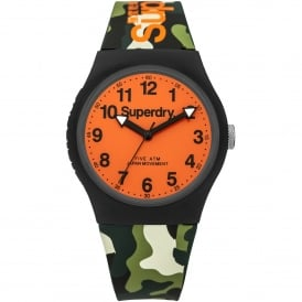 SYG164NO Urban Orange & Green Camouflage Silicone Watch