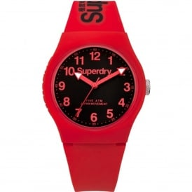 SYG164RB Urban Black & Red Silicone Watch