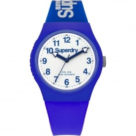 SYG164U Urban White & Blue Silicone Watch
