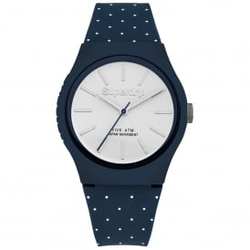 SYG166UW Urban Micro White Polka Dot & Blue Silicone Watch