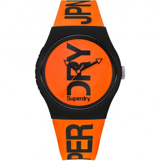 Superdry SYG189OB Urban Fluoro Black and Orange Silicone Watch
