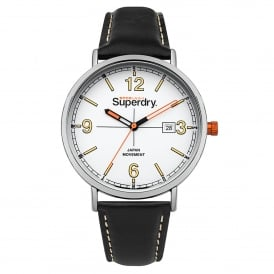 SYG190B Oxford Field Silver & Black Leather Watch
