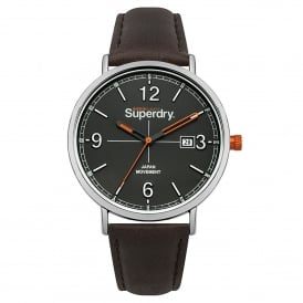 SYG190BR Oxford Field Silver, Grey Dial and Dark Brown Leather Watch