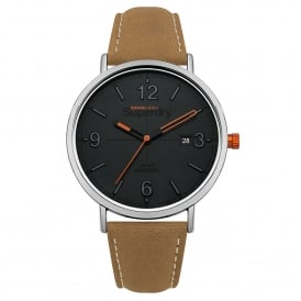 SYG190T Oxford Silver, Grey Dial & Tan Leather Watch
