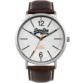 SYG194TS Oxford Silver & Brown Leather Men's Watch