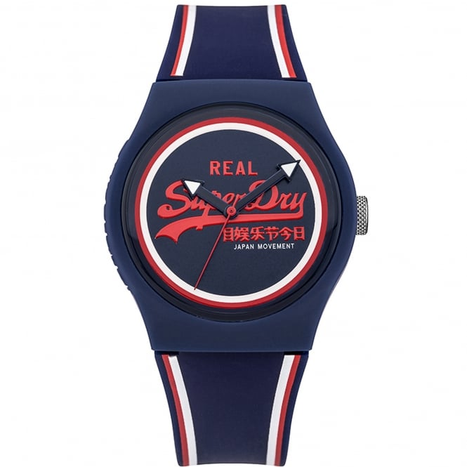 Superdry SYG198UR Urban Red & Navy Silicone Watch