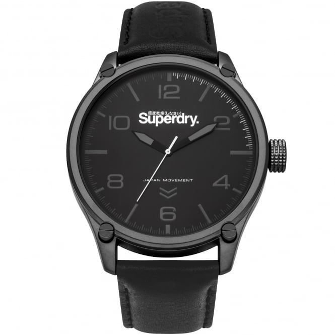 Superdry SYG200BB Military Black Leather Men's Watch