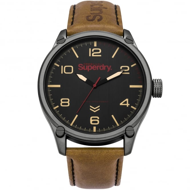 Superdry SYG200TB Military Grey & Brown Leather Men's Watch