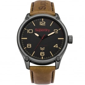 SYG200TB Military Grey & Brown Leather Men's Watch