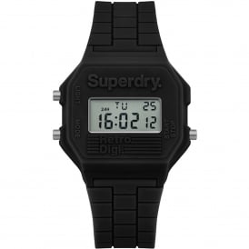 SYG201B Retro Digi Black Silicone Watch