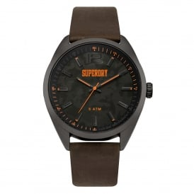 SYG209BR Military Black & Brown Leather Watch