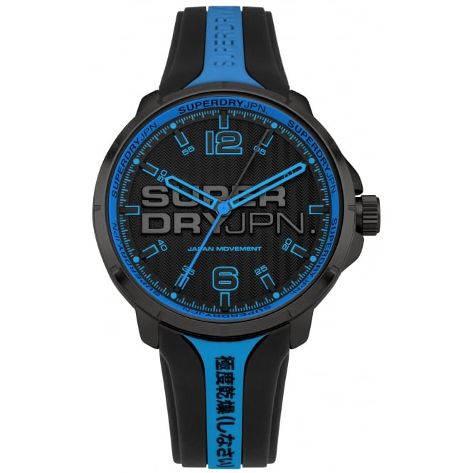 Superdry SYG216BU Kyoto Blue & Black Silicone Watch