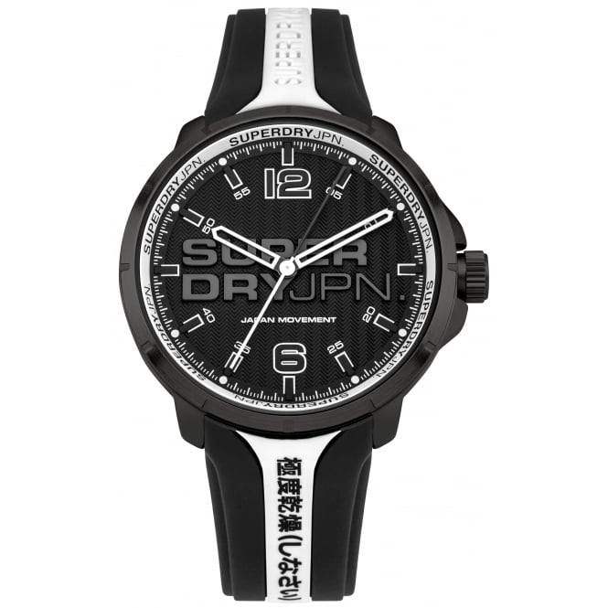 Superdry SYG216BW Kyoto White & Black Silicone Watch