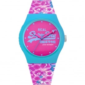 SYL169UP Urban Floral Blue & Pink Silicone Watch