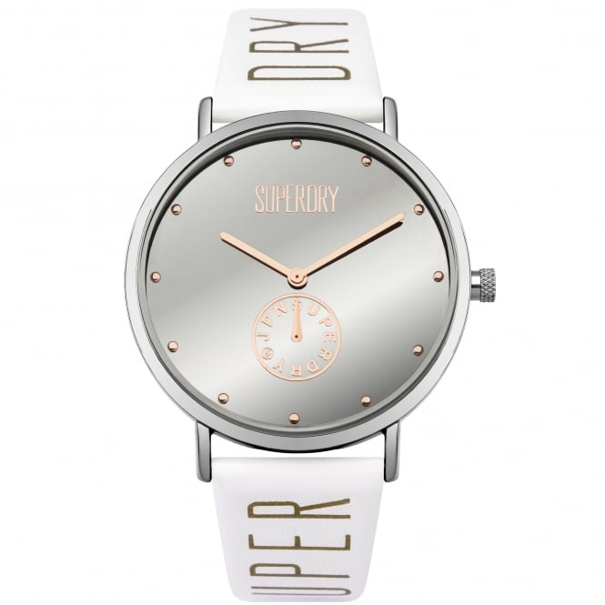 Superdry SYL175WS Oxford Crystal Silver & White Leather Ladies Watch